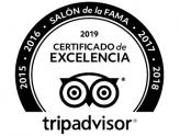 Certificado de excelencia TripAdvisor 2019 y Salón de la Fama